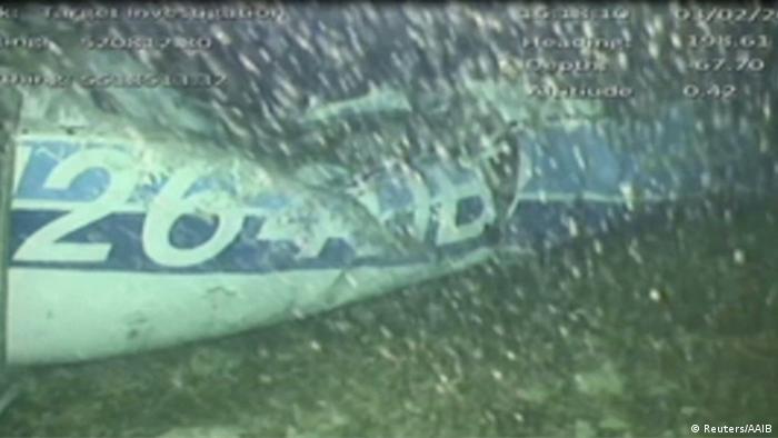 Artgentinien Emiliano Sala das Flugzeugwrack unter Wasser