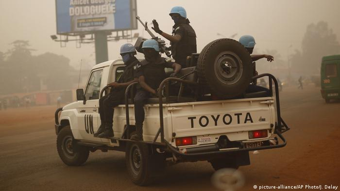 UN soldiers patrol the streets of Bangui, Central African Republic