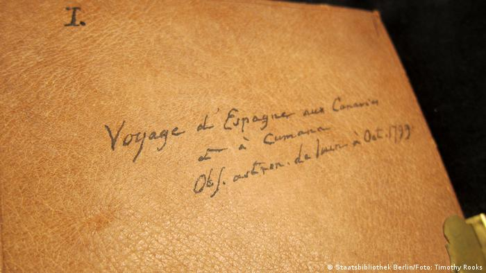 The cover of one of Alexander von Humboldt's travel journals labeled in French in his own hand. It includes his departure from Spain and the Atlantic crossing and is filled with astronomical observations — photo by Timothy A. Rooks