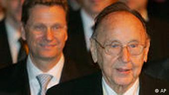 Der ehemalige Aussenminister Hans-Dietrich Genscher und der FPD-Vorsitzende Guido Westerwelle.