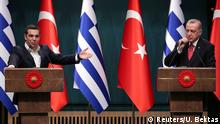 Turkish President Tayyip Erdogan and Greek Prime Minister Alexis Tsipras hold a joint news conference in Ankara, Turkey February 5, 2019. REUTERS/Umit Bektas