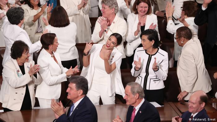 US Congresswomen dress in white for the State of the Union address by Donald Trump on Feb. 5, 2019