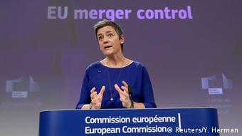 European Competition Commissioner Margrethe Vestager addresses the media in Brussels (Reuters/Y. Herman)
