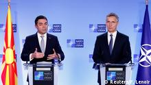 06.02.2019+++ Macedonian Foreign Minister Nikola Dimitrov and NATO Secretary General Jens Stoltenberg hold a joint news conference after a signature ceremony of the accession protocol between the Republic of North Macedonia and NATO at the Alliance headquarters in Brussels, Belgium February 6, 2019. REUTERS/Francois Lenoir
