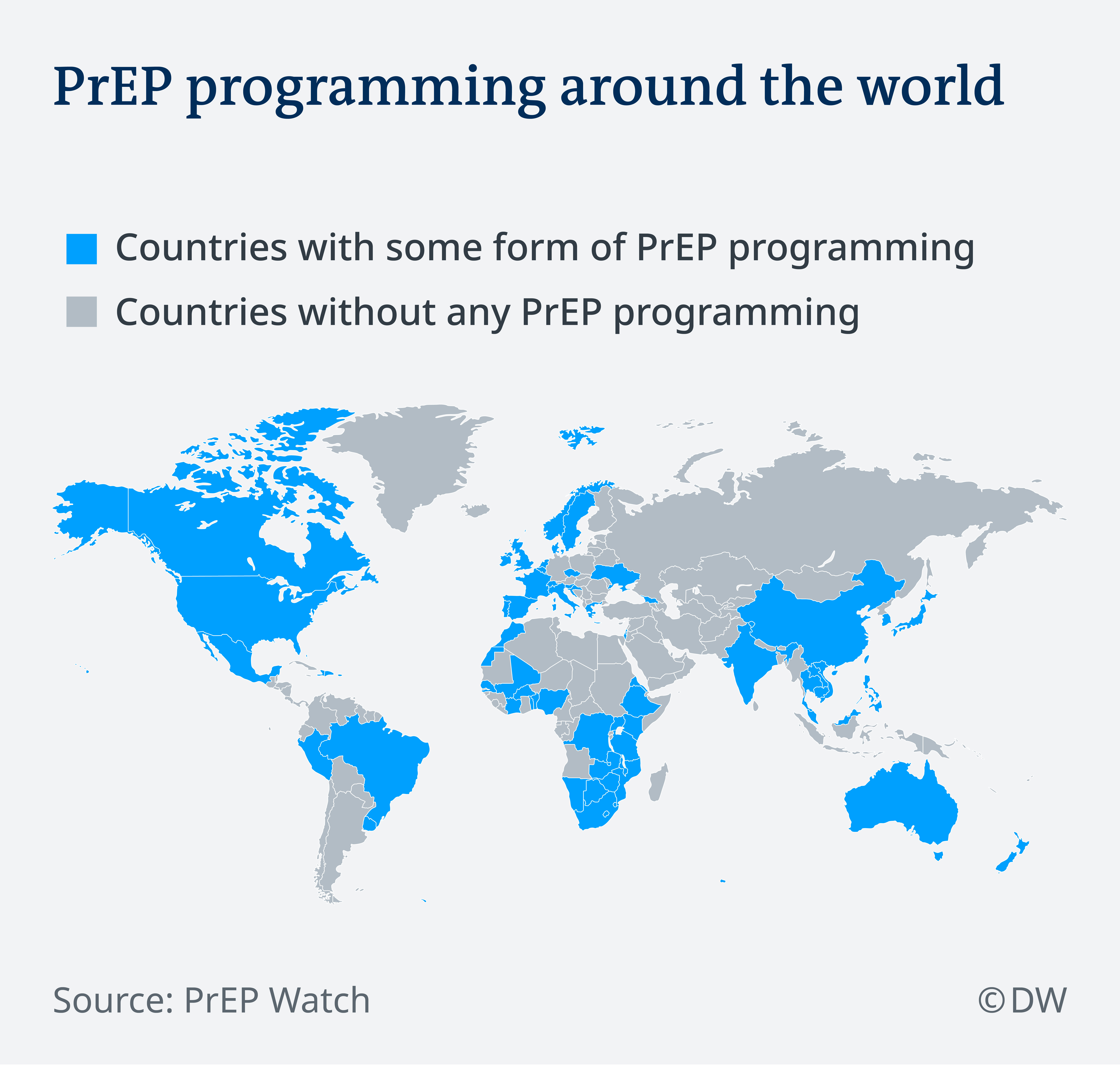 Map showing countries where PrEP programming is available