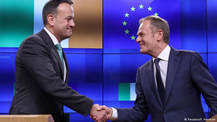 IrishTaoiseachLeo Varadkarwith EU Council President Donald Tusk in Brussels