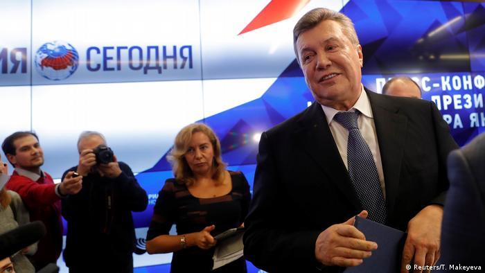 Экс-президент Украины Виктор Янукович на пресс-конференции в Москве