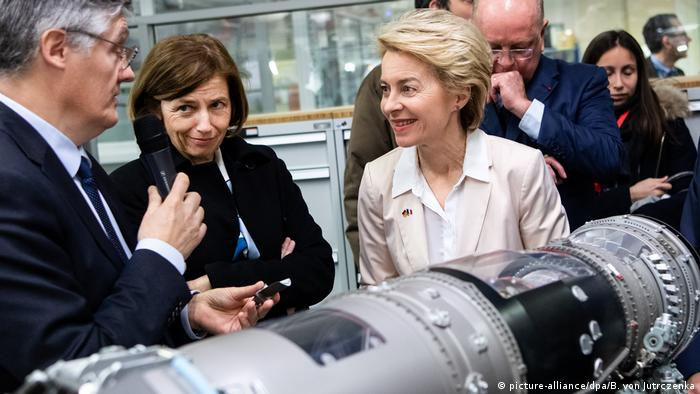 French Defense Minister Florence Parly and German Defense Minister Ursula von der Leyen at Safran Aircraft Engines in Gennevilliers, France
