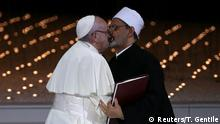 Pope Francis and Grand Imam of al-Azhar Sheikh Ahmed al-Tayeb kiss each other after signing a document on fighting extremism, during an inter-religious meeting at the Founder's Memorial in Abu Dhabi, United Arab Emirates, February 4, 2019. REUTERS/Tony Gentile TPX IMAGES OF THE DAY