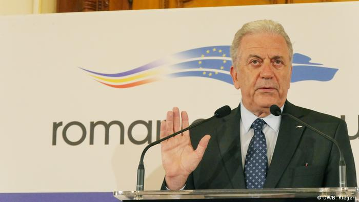 Rumänien Bukarest - EU Innenminister informelles Treffen: Dimitris Avramopoulos (DW/B. Riegert)