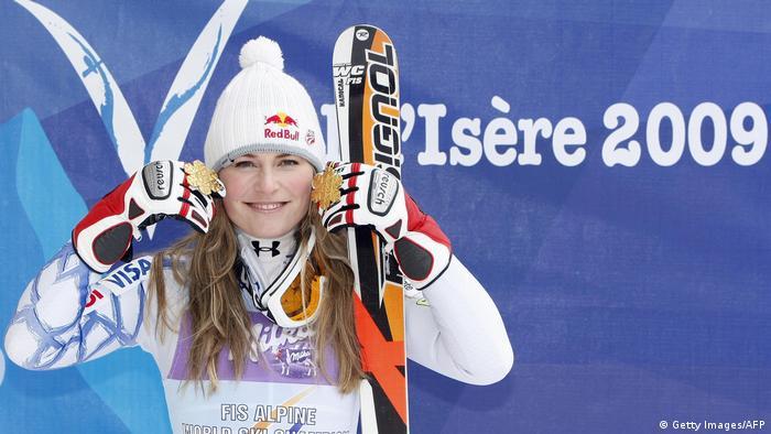 Lindsey Vonn Abfahrt & Super G Gold 2009 Val d'Isere Jubel (Getty Images/AFP)