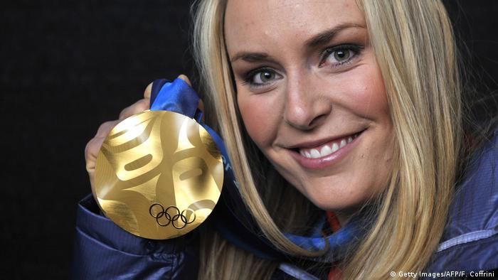Lindsey Vonn Goldmedaille Abfahrt Olympische Spiele 2010 (Getty Images/AFP/F. Coffrini)