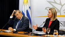 Federica Mogherini, High Representative of the Union for Foreign Affairs and Security Policy and Uruguayan Foreign Minister Rodolfo Nin Novoa attend a news conference after a meeting of European and Latin American leaders in Montevideo to discuss good faith plan for Venezuela, Uruguay February 7, 2019. REUTERS/Andres Stapff