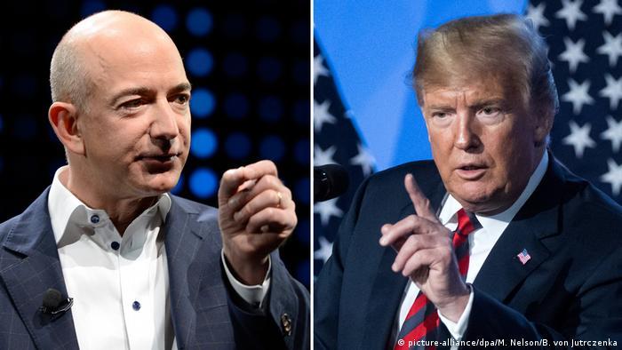 Bildkombo: Jeff Bezos - Donald Trump (picture-alliance/dpa/M. Nelson/B. von Jutrczenka)