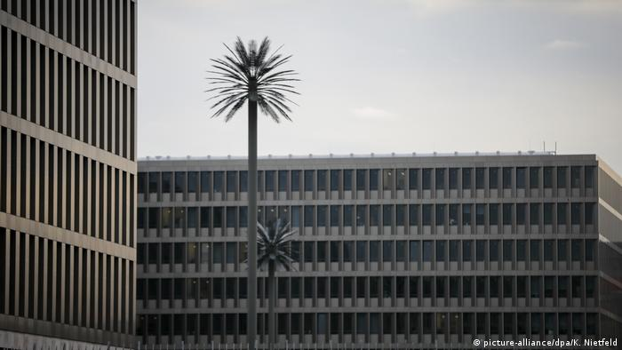 Steel palm trees at the spy HQ