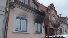 Gebäude des ungarischen Kulturzentrums nach einem Brandanschlag
