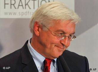 Steinmeier during a pause in the meeting which voted him in