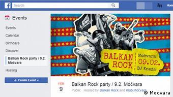 Kroatien Screenshot von der FB Seite des Clubs Mocvara in Zagreb