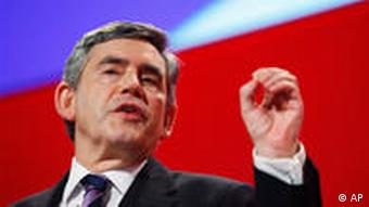Britain's Prime Minister and leader of the ruling Labour Party Gordon Brown gives his keynote speech to the annual party conference in the southern coastal town of Brighton, England,