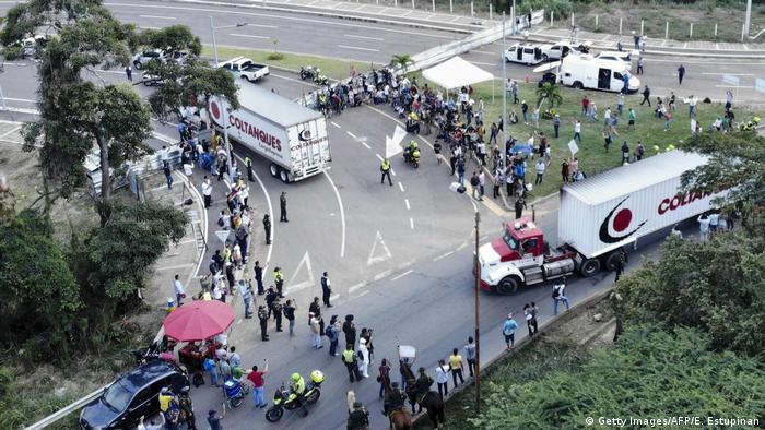Humanitarian aid at the border between Cucuta, Colombia, and Tachira, Venezuela