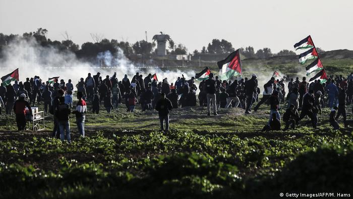 Palästina Demonstration bei Gaza Stadt an der Grenze zu Israel