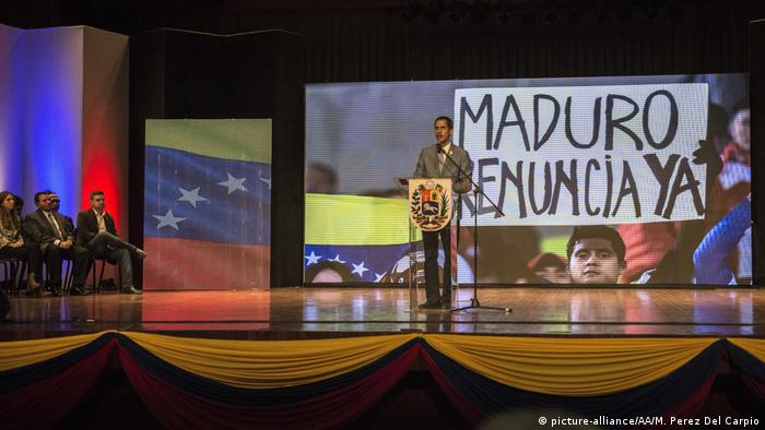 Juan Guaido speaking at the Central University