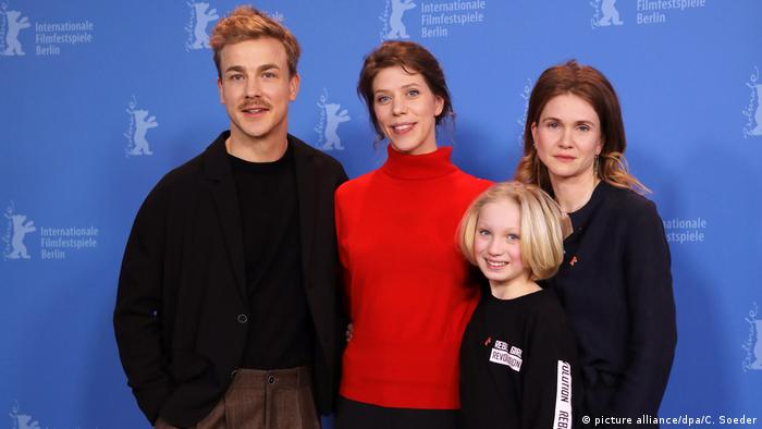 Albrecht Schuch (l-r), director Nora Fingscheidt, Helena Zengel and Lisa Hagmeister at the Berlin Film Festival, System Crasher