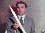 Space pioneer Wernher v. Braun pictured with Jupiter C rocket