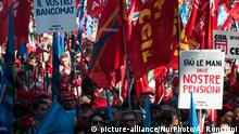 09.02.2019+++Rom, Italien+++ A moment of the national trade union demonstration CGIL, CISL e UIL in 'Piazza San Giovanni' in Rome on February 9, 2019 in Rome, Italy (Photo by Andrea Ronchini/NurPhoto)   Keine Weitergabe an Wiederverkäufer.