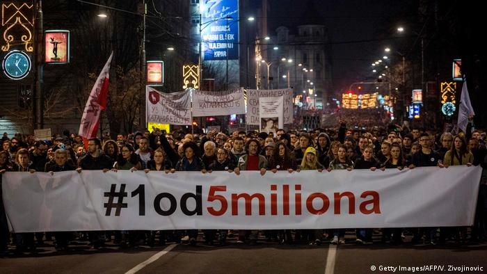 The 'protest against dictatorship' rally in Belgrade