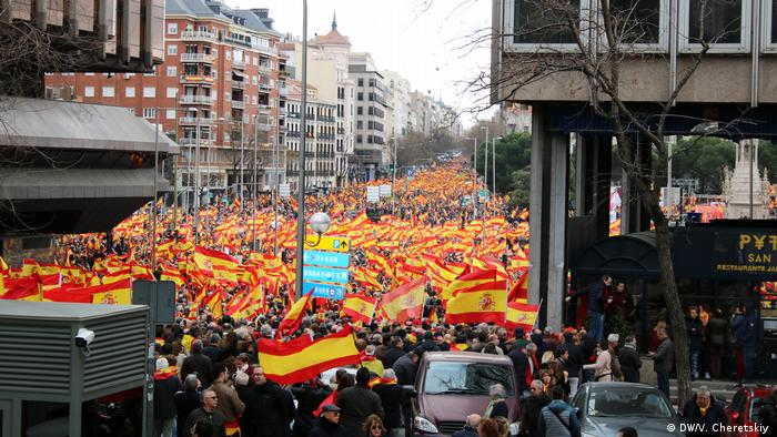 Right-wing supporters protest against Prime Minister Pedro Sanchez in Madrid