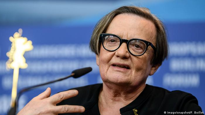 Agnieszka Holland speaks at the Berlinale