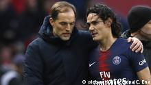 Fußball Paris Saint-Germain Trainer Thomas Tuchel und Edinson Cavani (picture-alliance/dpa/C. Ena)