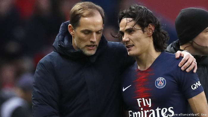 Fußball Paris Saint-Germain Trainer Thomas Tuchel und Edinson Cavani
