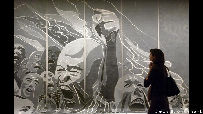 Fang Lijun Holzschnitt, zur Versteigerung bei Sotheby's.