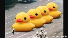 China Internet Meme Tank Man, rubber duckies on Tiananmen