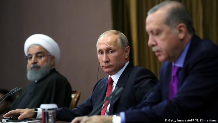 Конференция по Сирии в Сочи: президент Ирана Хассан Рухани, президент РФ Владимир Путин, президент Турции Реджеп Тайип Эрдоган. Ноябрь, 2017