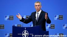 BRUSSELS, BELGIUM - FEBRUARY 12: NATO Secretary General Jens Stoltenberg holds a press conference ahead of a Defense Ministers meeting, in Brussels, Belgium on February 12, 2019. Dursun Aydemir / Anadolu Agency | Keine Weitergabe an Wiederverkäufer.