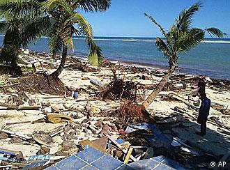 A beach littered with wreckage in the aftermath of a tsunami on the South Pacific island of Samoa