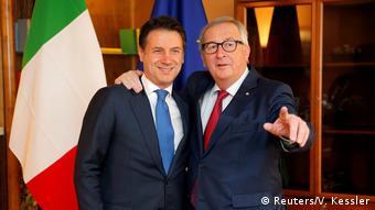 Straßburg Europäisches Parlament Giuseppe Conte und Jean-Claude Juncker