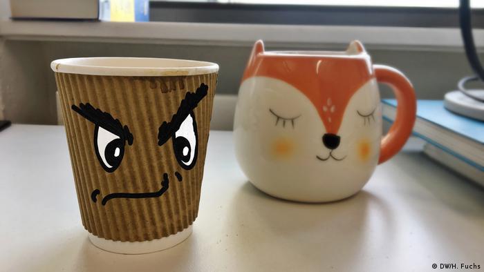 Green living: Environmentally harmful disposable cup vs. reusable china mug