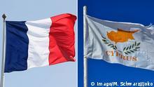 Bildkombo Nationalflagge Frankreich und Republik Zypern