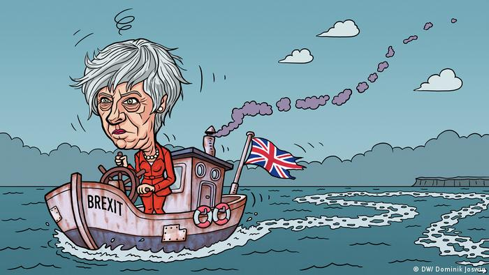 Karikatur Brexit - Theresa May auf Schlingerkurs