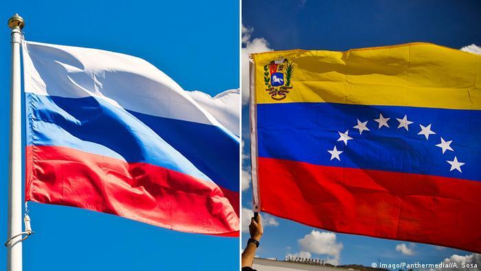 Bildkombo Nationalflagge Russland und Venezuela