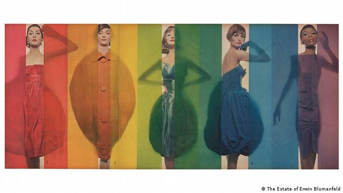 Erwin Blumenfeld exhibition. 'Rage for Color' Look 1958. Models from left to right: Renee Breton, Tess Mall, Dolores Hawkins, Anne St. Marie, Bani Yelverton (The Estate of Erwin Blumenfeld)