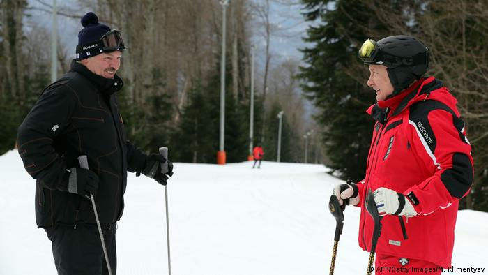 Russian President Vladimir Putin and Belarus' President Alexander Lukashenko are all smiles as they ski at a resort in Sochi