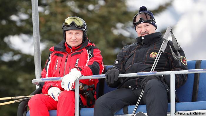 Vladimir Putin i Aleksandar Lukašenko na skijanju