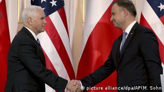 دیدار مایک پنس، معاون ریست جمهوری آمریکا با آندره دودا، رییس جمهور لهستان، کنفرانس ورشو، چهارشنبه ۱۳ فوریه ۲۰۱۹