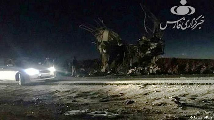 Bus destroyed in a suicide attack