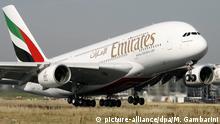 Airbus A380 der Fluggesellschaft Emirates